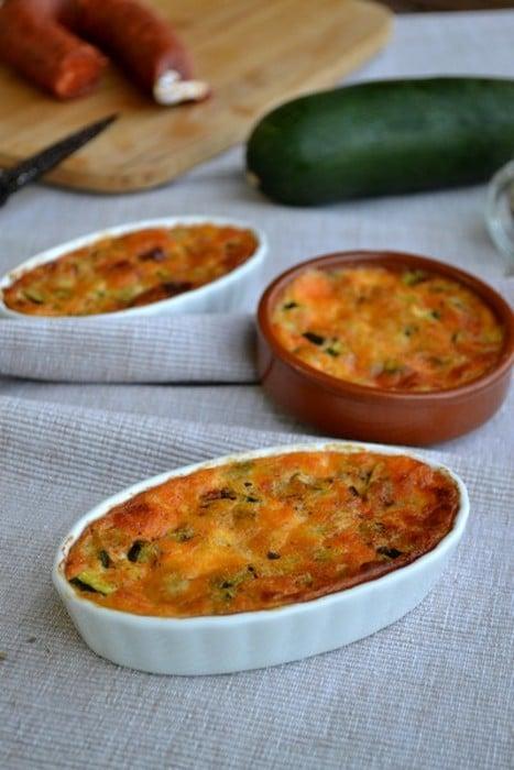 Clafoutis courgette chorizo et parmesan