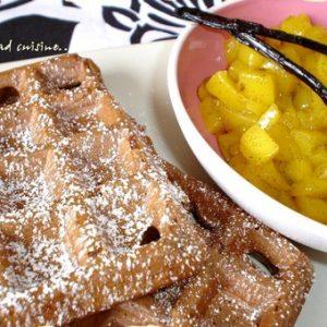 gaufres chocolat et compotee de mangue