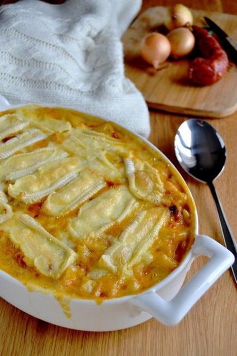 Gratin de pommes de terre au chorizo façon tartiflette