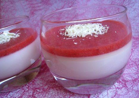 Panna cotta au chocolat blanc et coulis de fraises1