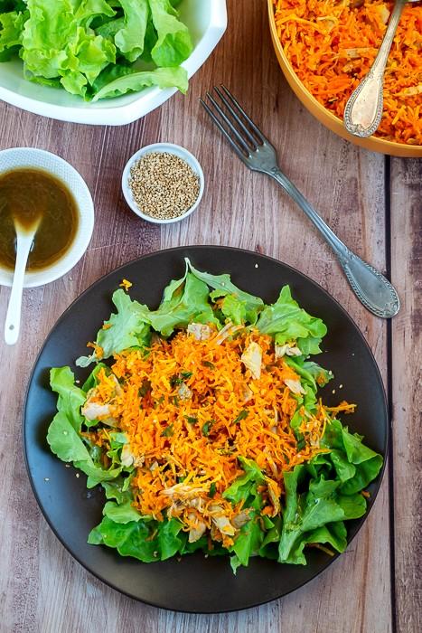 Salade aux restes de poulet rôti
